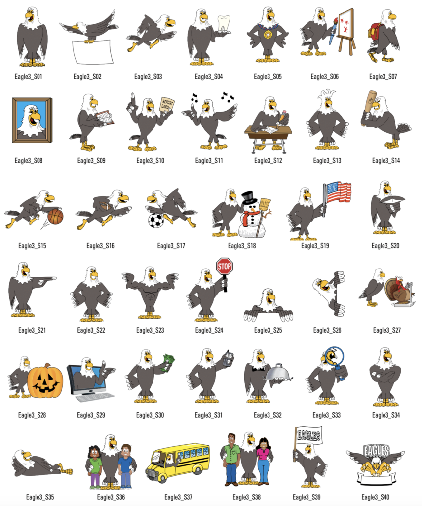 Eagle Mascot 3 Standard Clip Art Set